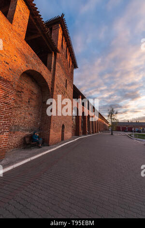 Wall of Kolomna Kremlin, Region of Moscow, Russia - Stock Photo