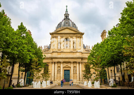 Paris, France - 24.04.2019: Sorbonne square and College de Sorbonne, one of the first colleges of medieval University in Paris, France - Stock Photo