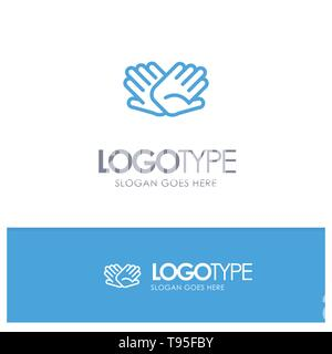 Charity, Hands, Help, Helping, Relations Blue outLine Logo with place for tagline - Stock Photo