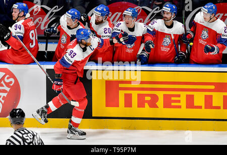 Bratislava, Slovakia. 16th May, 2019. Jakub Voracek (CZE) celebrates his goal during the match between Czech Republic and Latvia within the 2019 IIHF World Championship in Bratislava, Slovakia, on May 16, 2019. Credit: Vit Simanek/CTK Photo/Alamy Live News - Stock Photo