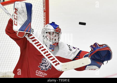 Bratislava, Slovakia. 16th May, 2019. Patrik Bartosak (CZE) in action during the match between Czech Republic and Latvia within the 2019 IIHF World Championship in Bratislava, Slovakia, on May 16, 2019. Credit: Vit Simanek/CTK Photo/Alamy Live News - Stock Photo