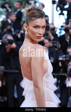 Cannes, France. 16th May, 2019. Model Bella Hadid poses on the red carpet for the premiere of the film 'Rocketman' at the 72nd Cannes Film Festival in Cannes, France, on May 16, 2019. The 72nd Cannes Film Festival is held here from May 14 to 25. Credit: Zhang Cheng/Xinhua/Alamy Live News - Stock Photo