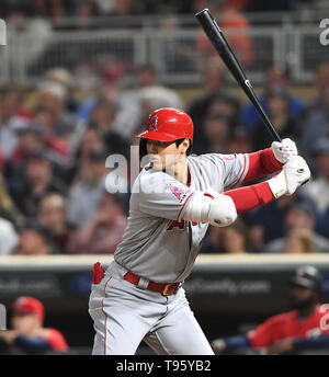 Los Angeles Angels designated hitter Shohei Ohtani at bat in the eighth inning during the Major League Baseball game against the Minnesota Twins at Target Field in Minneapolis, Minnesota, United States, May 14, 2019. Credit: AFLO/Alamy Live News - Stock Photo