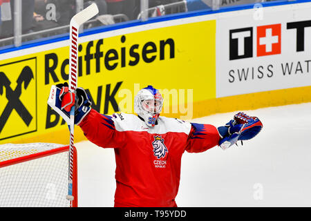 Bratislava, Slovakia. 16th May, 2019. Patrik Bartosak (CZE) celebrates win of the match between Czech Republic and Latvia within the 2019 IIHF World Championship in Bratislava, Slovakia, on May 16, 2019. Credit: Vit Simanek/CTK Photo/Alamy Live News - Stock Photo