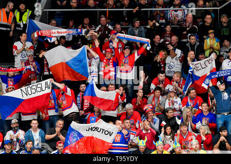 Bratislava, Slovakia. 16th May, 2019. Czech fans are seen during the match between Czech Republic and Latvia within the 2019 IIHF World Championship in Bratislava, Slovakia, on May 16, 2019. Credit: Vit Simanek/CTK Photo/Alamy Live News - Stock Photo