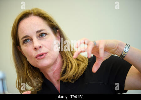 Berlin, Germany. 17th May, 2019. Hildegard Bentele, top candidate of the CDU Berlin for the elections to the European Parliament, answers the question of a journalist during a press conference during an election campaign tour in Berlin. Credit: Gregor Fischer/dpa/Alamy Live News - Stock Photo