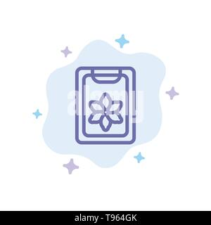 Flower, Clipboard, Spring, Clip Blue Icon on Abstract Cloud Background - Stock Photo