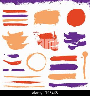 Paint brush strokes and grunge stains isolated on white background. Colored vector design elements for paintbrush texture, frame, background, banner o - Stock Photo