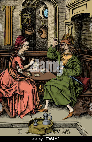 Fortune-telling is the practice of predicting information about a person's life. Common methods used for fortune telling in Europe and the Americas include astromancy, horary astrology, pendulum reading, spirit board reading, tasseography (reading tea leaves in a cup), cartomancy (fortune telling with cards), tarot reading, crystallomancy (reading of a crystal sphere), and chiromancy (reading of the palms). The last three have traditional associations in the popular mind with the Roma and Sinti people (gypsies). Another form of fortune-telling, sometimes called 'reading' or 'spiritual consulta - Stock Photo