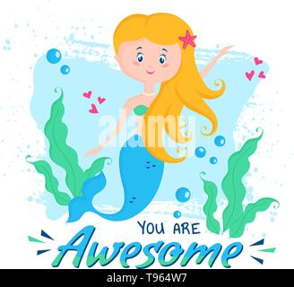 Vector illustration with cute mermaid and phrase - You are Awesome. Stylish design for banner, poster in the nursery or print for children wear. - Stock Photo