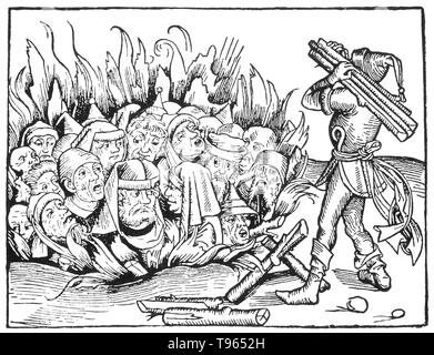 Protestants and Jews accused of heresy and witchcraft being burned alive. The Spanish Inquisition was established in 1480 by Catholic Monarchs Ferdinand II of Aragon and Isabella I. It was intended to maintain Catholic orthodoxy in their kingdoms and to replace the Medieval Inquisition, which was under Papal control. The Inquisition was originally intended primarily to ensure the orthodoxy of those who converted from Judaism and Islam. The regulation of the faith of the newly converted was intensified after the royal decrees issued in 1492 and 1502 ordering Jews and Muslims to convert or leave - Stock Photo
