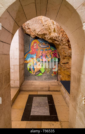 The painted icon in grotto of St Anne Church in jerusalem israel - Stock Photo