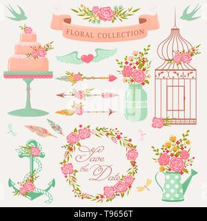 Romantic floral collection. Vector design elements with cute flowers. Pretty decorations isolated on white background. - Stock Photo