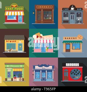 Shops and venues store fronts flat design long shadow vector illustration - Stock Photo