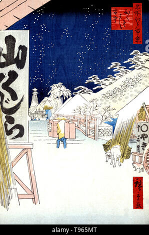Bikunibashi setchu. Bikuni bridge in snow. Porter walking in ankle-deep snow at the approach to the Bikuni bridge. Ukiyo-e (picture of the floating world) is a genre of Japanese art which flourished from the 17th through 19th centuries. Ukiyo-e was central to forming the West's perception of Japanese art in the late 19th century. The landscape genre has come to dominate Western perceptions of ukiyo-e. The Japanese landscape differed from the Western tradition in that it relied more heavily on imagination, composition, and atmosphere than on strict observance of nature. One Hundred Famous Views - Stock Photo