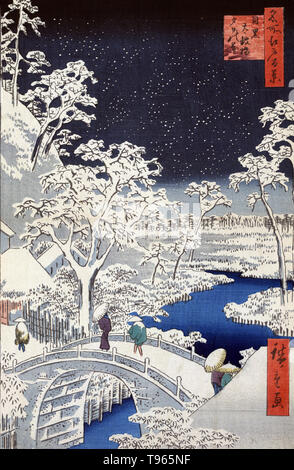 Meguro taikobashi yuhinooka. Meguro drum bridge and sunset hill. Pedestrians crossing a stone bridge during a snowstorm. Ukiyo-e (picture of the floating world) is a genre of Japanese art which flourished from the 17th through 19th centuries. Ukiyo-e was central to forming the West's perception of Japanese art in the late 19th century. The landscape genre has come to dominate Western perceptions of ukiyo-e. The Japanese landscape differed from the Western tradition in that it relied more heavily on imagination, composition, and atmosphere than on strict observance of nature. One Hundred Famous - Stock Photo