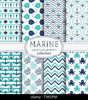 Set of marine and nautical backgrounds in navy blue, turquoise and white colors. Sea theme. Cute seamless patterns collection. Vector illustration. - Stock Photo