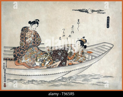 Two lovers in a boat. Shows a man and a woman in a boat; the man is holding a small drum and appears to be serenading the woman beneath the moon. Ukiyo-e (picture of the floating world) is a genre of Japanese art which flourished from the 17th through 19th centuries. Ukiyo-e was central to forming the West's perception of Japanese art in the late 19th century. From the 1870s Japonism became a prominent trend and had a strong influence on the early Impressionists, as well as Post-Impressionists and Art Nouveau artists. Valentine's Day, also known as Saint Valentine's Day or the Feast of Saint V - Stock Photo