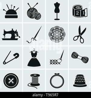 Set of sewing and needlework icons. Collection of design elements. Vector illustration. - Stock Photo