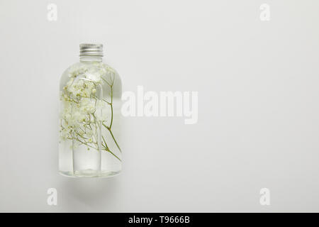top view of transparent bottle with natural liquid beauty product and dry white wildflowers on grey background - Stock Photo