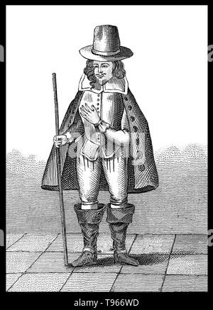 Matthew Hopkins (1620 - August 12, 1647) was an English witchhunter. He claimed to hold the office of Witchfinder General, although that title was never bestowed by Parliament. His witch-finding career began in March 1644 and lasted until his retirement in 1647. Hopkins is believed to have been responsible for the deaths of 300 women.  He died in 1647, probably of pleural tuberculosis, at the age of 27. No artist credited. - Stock Photo