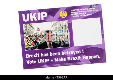 European election leaflet 2019 from UKIP, the United Kingdom Independence Party. - Stock Photo