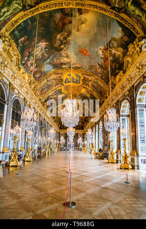 VERSAILLES, FRANCE - February 14, 2018 :Hall of Mirrors in the palace of Versailles - Stock Photo