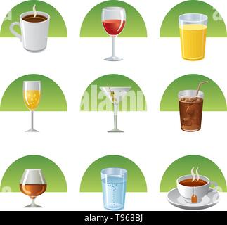 drinks icon set - Stock Photo