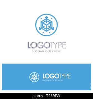 Scale, Modification, Design, 3d Blue Logo Line Style - Stock Photo