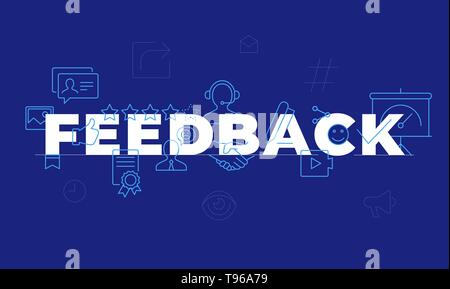 Feedback word concept. Employee engagement. Customer satisfaction. Isolated lettering typography idea with line icons. Review and advices Vector outli - Stock Photo