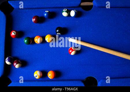 Pool billiard balls on blue table sport game set. Snooker, pool game - Stock Photo
