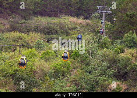 Cabin with tourists on the cable car,Dalat,Vietnam - Stock Photo