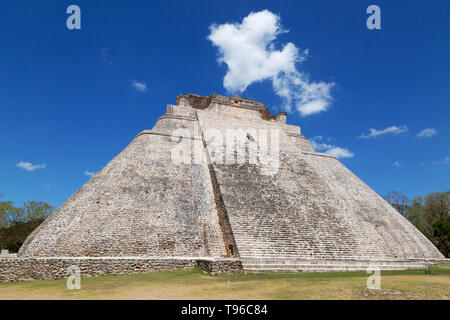 Mayan pyramid - the Pyramid of the Magician, or Pyramid of the Dwarf, mayan ruins UNESCO world heritage site at Uxmal, Mexico Latin America - Stock Photo