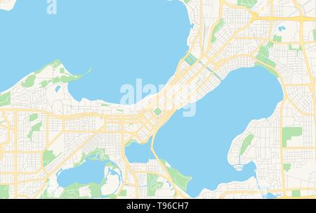 Empty vector map of Madison, Wisconsin, USA, printable road map created in classic web colors for infographic backgrounds. - Stock Photo