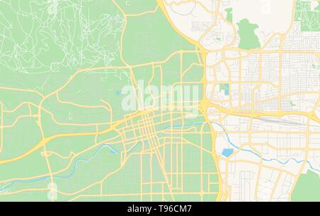 Empty vector map of Reno, Nevada, USA, printable road map created in classic web colors for infographic backgrounds. - Stock Photo