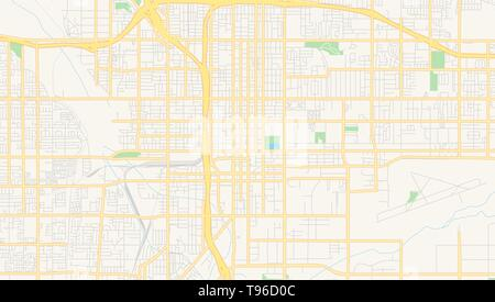 Empty vector map of San Bernardino, California, USA, printable road map created in classic web colors for infographic backgrounds. - Stock Photo