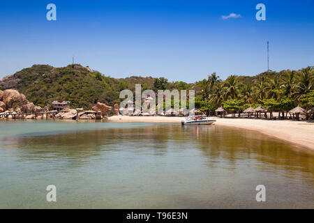 The beach from the Small bungalow resort Ngoc Suong, in Cam Ranh Bay,south china sea, Nha Trang, Vietnam, Asia - Stock Photo
