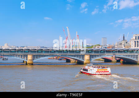 London, UK - May 23 2018: View of River Tahmes from Millenium Bridge (London Millennium Footbridge) - Stock Photo