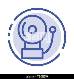 Alarm, Bell, School Blue Dotted Line Line Icon - Stock Photo