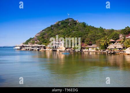 Small bungalow resort Ngoc Suong, in Cam Ranh Bay,south china sea, Nha Trang, Vietnam, Asia - Stock Photo