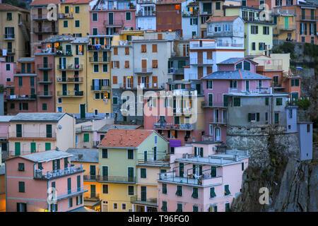 Close view of Manarola houses on the sunset, Cinque Terre, Liguria, Italy. UNESCO heritage - Stock Photo