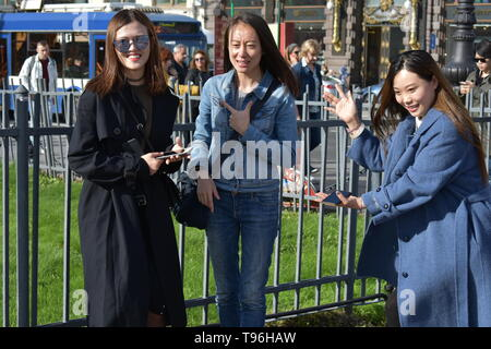 St.Petersburg Russia September 18 2018 Beautiful Chinese girls  posing for photographer - Stock Photo