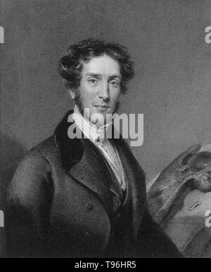Gideon Algernon Mantell (February 3, 1790 -  November 10, 1852) was an English obstetrician, geologist and paleontologist. His attempts to reconstruct the structure and life of Iguanodon began the scientific study of dinosaurs: in 1822  he was responsible for the discovery (and the eventual identification) of the first fossil teeth, and later much of the skeleton, of Iguanodon. In 1841 Mantell was the victim of a terrible carriage accident on Clapham Common. Somehow he fell from his seat, became entangled in the reins and was dragged across the ground. He suffered a debilitating spinal injury. - Stock Photo