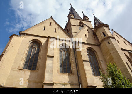 14th century Lutheran Cathedral of Saint Mary, Sibiu, Nagyszeben, Hermannstadt, Romania, Europe - Stock Photo