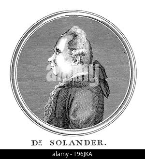 Daniel Carlsson Solander (February 19, 1733 - May 13, 1782) was a Swedish naturalist. In 1768, Solander gained leave of absence from the British Museum and accompanied Joseph Banks on James Cook's first voyage to the Pacific Ocean aboard the Endeavour. In 1772 he accompanied Banks on his voyage to Iceland, the Hebrides and the Orkney Islands. Between 1773 and 1782 he was Keeper of the Natural History Department of the British Museum. He died of a stroke at the age of 49. - Stock Photo