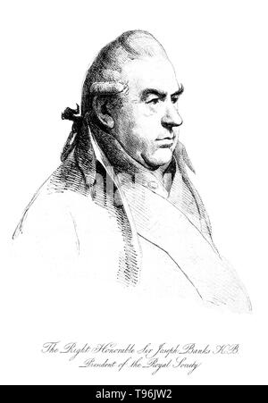 Sir Joseph Banks, 1st Baronet (February 24, 1743 - June 19, 1820)  English naturalist and botanist. Banks made his name on the 1766 natural history expedition to Newfoundland and Labrador. He took part in Cook's first great voyage (1768-71), visiting Brazil, Tahiti, New Zealand, and Australia. He held the position of President of the Royal Society for over 41 years. - Stock Photo