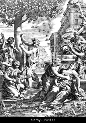 Group of women (nymphs) in classical robes, playing music next to a fountain. One woman has been stung by a bee and is lying on the ground. A bee sting is a sting from a bee (honey bee, bumblebee, sweat bee, etc.). The stings of most of these species can be quite painful, and are therefore keenly avoided by many people. A honey bee that is away from the hive foraging for nectar or pollen will rarely sting, except when stepped on or roughly handled. Honey bees will actively seek out and sting when they perceive the hive to be threatened, often being alerted to this by the release of attack pher - Stock Photo