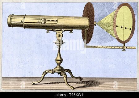 Engraving of a large reflecting telescope, and a projection of the transit of Venus. This diagram, entitled 'An Apparatus adapted to the Reflecting Telescope for shewing The Transit of Venus', appeared in Benjamin Martin's 'The Young Gentleman and Lady's Philosophy', published between 1755 and 1763 in the General Magazine and aimed at explaining astronomical principles to amateur astronomers. Transits of Venus across the disk of the Sun are among the rarest of planetary alignments. - Stock Photo