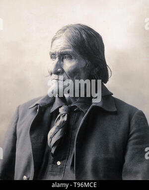 Geronimo (1829 - 1909) was a prominent leader and medicine man from the Bedonkohe band of the Apache tribe. From 1850 to 1886 Geronimo joined with members of three other Chiricahua Apache bands (the Tchihende, the Tsokanende and the Nednhi) to carry out numerous raids as well as resistance to US and Mexican military campaigns in the northern Mexico states of Chihuahua and Sonora, and in the southwestern American territories of New Mexico and Arizona. Stock Photo