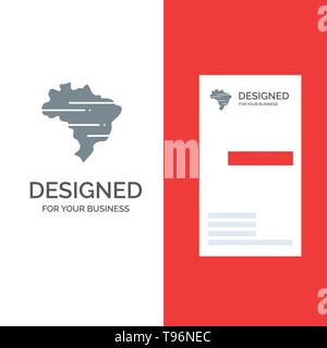 Brazil, Map, Country Grey Logo Design and Business Card Template - Stock Photo